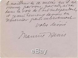 Maurice Denis lettre autographe signée Artiste INDEPENDANT