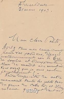 Maurice ROLLINAT Lettre autographe signée