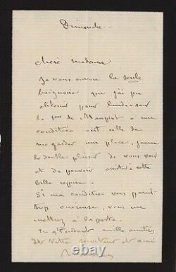 Maurice SAND Lettre autographe signée à Juliette Adam