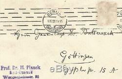 Max PLANCK / Lettre autographe signée / Les forces motrices de la vie