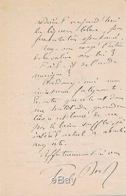 Médecin médecine lettre autographe signée Paul Bert recherche chimiste glycogene