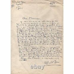 Michel Déon Lettre autographe signée sur une adaptation d'Hemingway