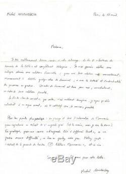 Michel HOUELLEBECQ Lettre autographe signée Extension du domaine de la lutte