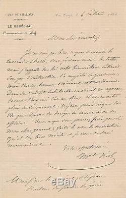Militaire Adolphe Niel demande général Dejean lettre autographe signée 1865