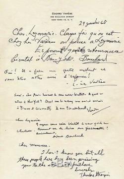 Musique Edgard VARÈSE (1883-1965) Lettre autographe signée Picasso Giacometti