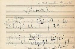 Musique Louis DIÉMER manuscrit musical autographe 2 portées dédicacé signé