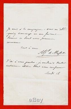N6-alfred De Musset-écrivain-lettre Autographe Signée