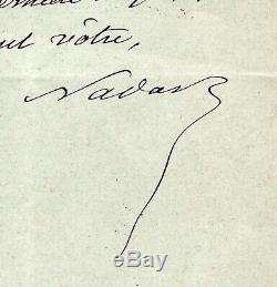 NADAR (Félix Tournachon, dit) Lettre autographe signée, Marseille mai 1899