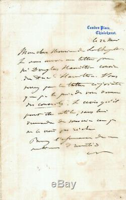 NAPOLEON III Lettre autographe signée EXIL CAMDEN PLACE 22 MAI