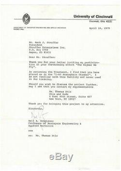 Neil Armstrong / Lettre Signée (1979) / Astronome / Apollo 11 / Nasa / Lune