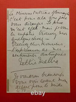 Nellie MELBA Lettre autographe signée