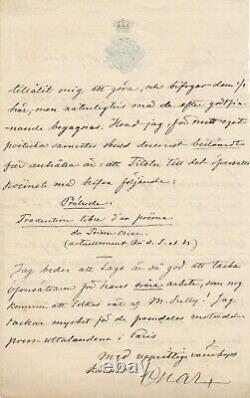 OSCAR II DE SUÈDE 1829-1907 lettre autographe signée sur Fantaisie Mounel Sully