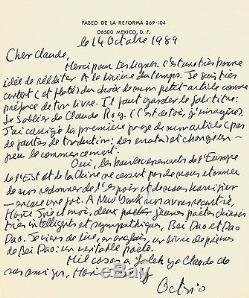 Octavio PAZ Lettre autographe signée à Claude Roy. Chute du mur de Berlin. 1989