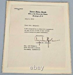 Original 1958 Lyndon B Johnson Lbj Signé Autographié Sénat Constitue Lettre