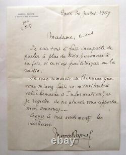 PAGNOL Marcel Lettre autographe signée, refus de participer à une émission radio