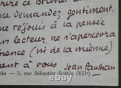 PAULHAN Jean LETTRE AUTOGRAPHE SIGNÉE à ROGER CAILLOIS NOUVELLE REVUE FRANÇAISE