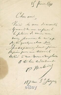 PAUL VERLAINE / LETTRE AUTOGRAPHE SIGNEE 15 fevrier 1894
