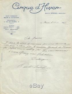 Paolo FRATELLINI. Lettre autographe signée. Cirque d'Hiver. 1926