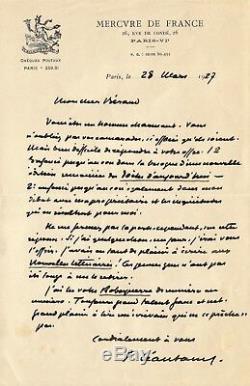 Paul LEAUTAUD / Lettre autographe signée à Henri Béraud / 1927