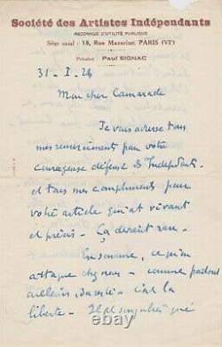 Paul SIGNAC Rare lettre autographe signée sur son engagement