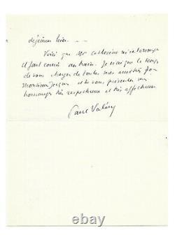 Paul VALÉRY / Lettre autographe signée / Catherine Pozzi / Vence / Poésie / Nice