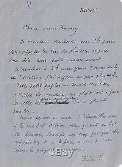 Paul VALERY Lettre autographe signée Nathalie Clifford Barney. 1923