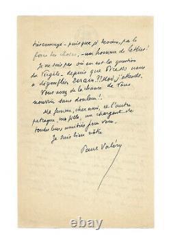 Paul VALERY / Lettre autographe signée / Poésie / Picasso / Derain / Oeuvres