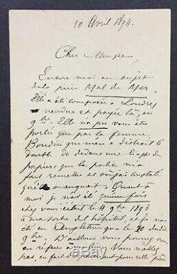 Paul VERLAINE Vol de ses manuscrits par Boudin Lettre autographe signée -2 p