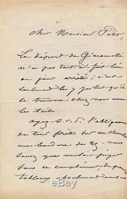 Peintre Charles Jacque lettre autographe signée Barbizon Croisic Adolphe Petit