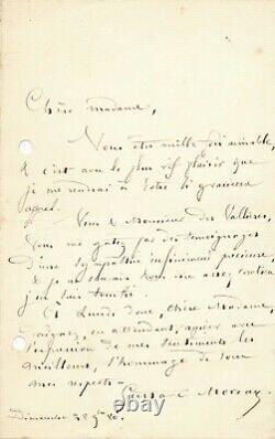 Peintre Gustave MOREAU lettre autographe signée à Jean Des Vallières amitié