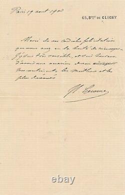 Peintre Jean-Léon GEROME lettre autographe signée remerciement