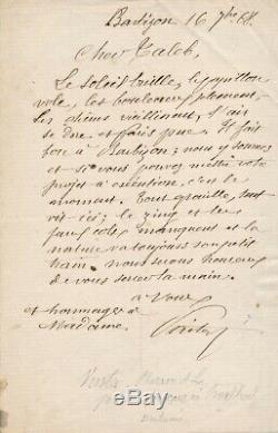 Pharaon de WINTER (1849-1924), peintre lettre autographe signée école Barbizon