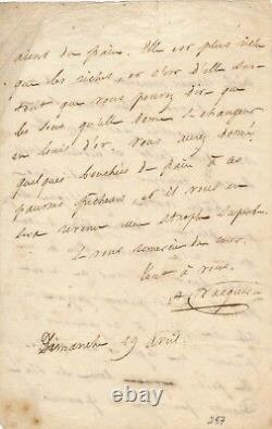 Photographe Lettre autographe signée Auguste Vacquerie poésie marins Le Havre