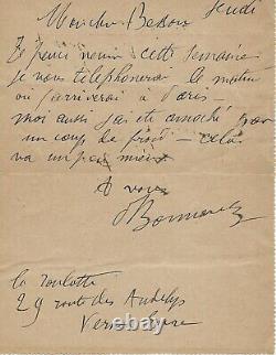 Pierre BONNARD Lettre autographe signée peinture nabis