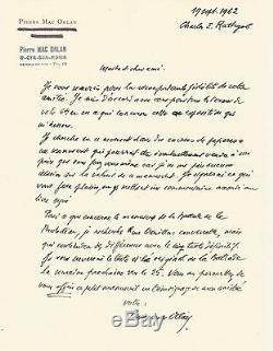 Pierre MAC ORLAN / Lettre autographe signée à Charles Rathgeb