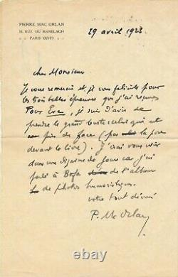 Pierre MAC ORLAN écrivain lettre autographe signée photographie et Gus Bofa