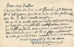 Pierre PUVIS DE CHAVANNES lettre autographe signée encadrement prêt d'oeuvre