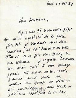 Pierre SOULAGES Lettre autographe signée. Son exposition à New-York en 1958