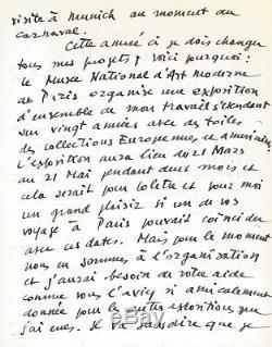 Pierre SOULAGES Lettre autographe signée. Son exposition au musée d'Art Moderne
