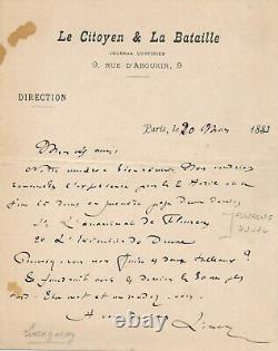 Prosper Olivier LISSAGARAY Commune lettre autographe signée assassinat Flourens