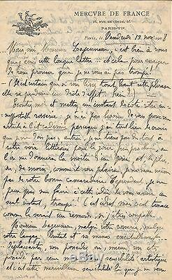 RACHILDE Lettre autographe signée à Ernest Lajeunesse. 1908
