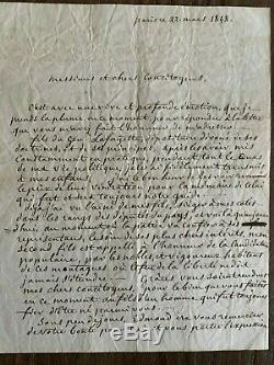 RARE LAS Lettre Autographe Signé GEORGE WASHINGTON DE LA FAYETTE 1848 Amérique