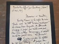 Rare Lettre Envoi Autographe Signe Par Aristide Bruant 1er Mai 1919 Montmartre