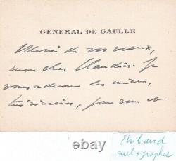 Rare carte visite lettre signée Général Charles de Gaulle dédicace autographe
