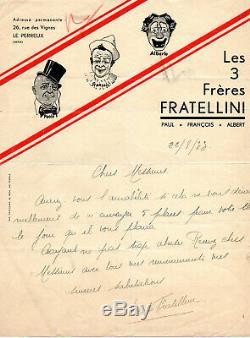 Rare, lettre autographe, frères Fratellini signée paolo Fratellini 22 aout 1933