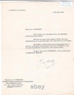 Rare lettre tapuscrite signée Général Charles de Gaulle dédicace autographe 1955