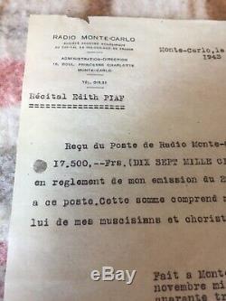 Rarissime lettre reçu signé Edith Piaf autographe signed Monte Carlo 1943 Rare