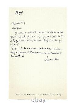 Raymond QUENEAU / Lettre autographe signée / NRF / Oulipo / Poésie / Roman