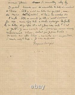 Raymond RADIGUET Lettre autographe signée La rédaction de ses poèmes obscènes