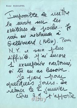 René BARJAVEL (1911.1985). Lettre autographe signée